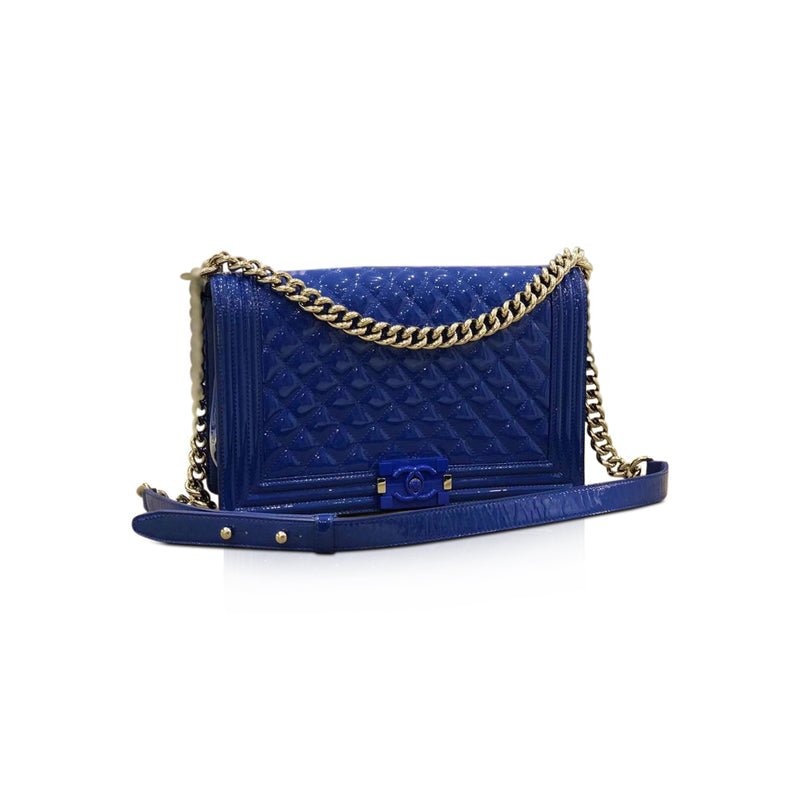 New Medium Boy Bag in Blue Patent Leather with SHW - Bag Religion