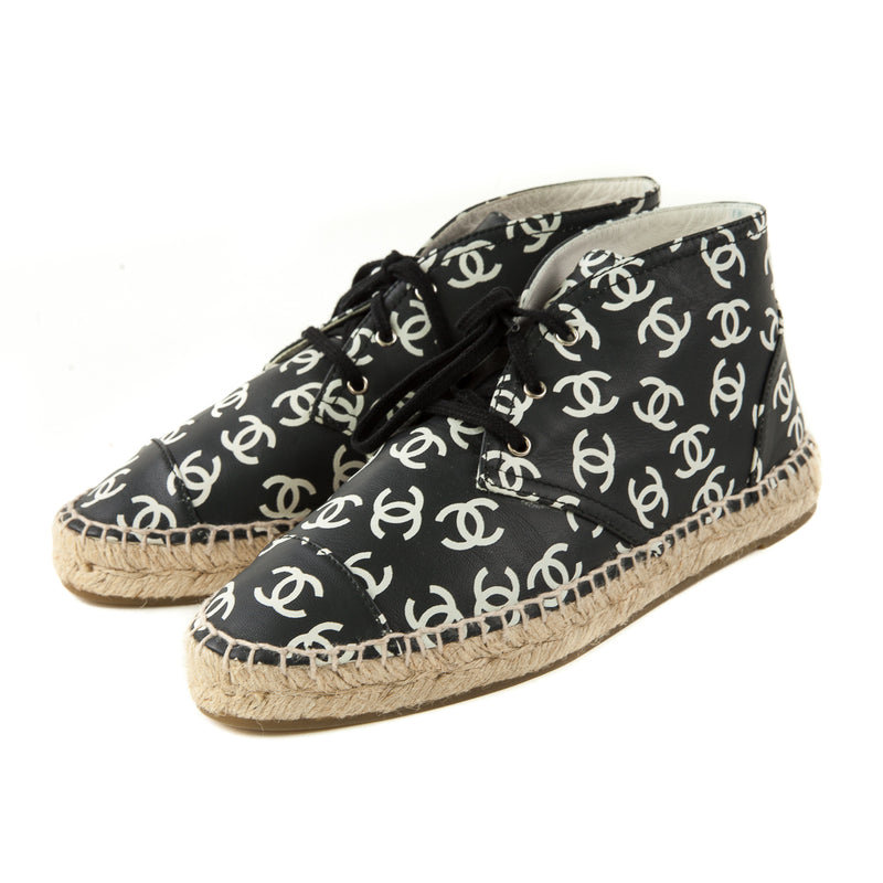 Black White CC Logo High Top Lace Up Espadrilles - Bag Religion