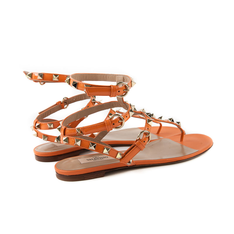 Rockstud Leather Flat Sandals - Bag Religion