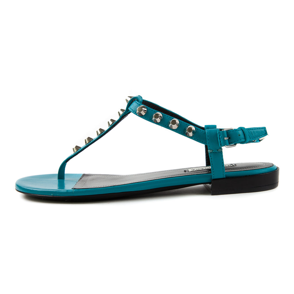Studded T-Strap Sandals, Teal - Bag Religion