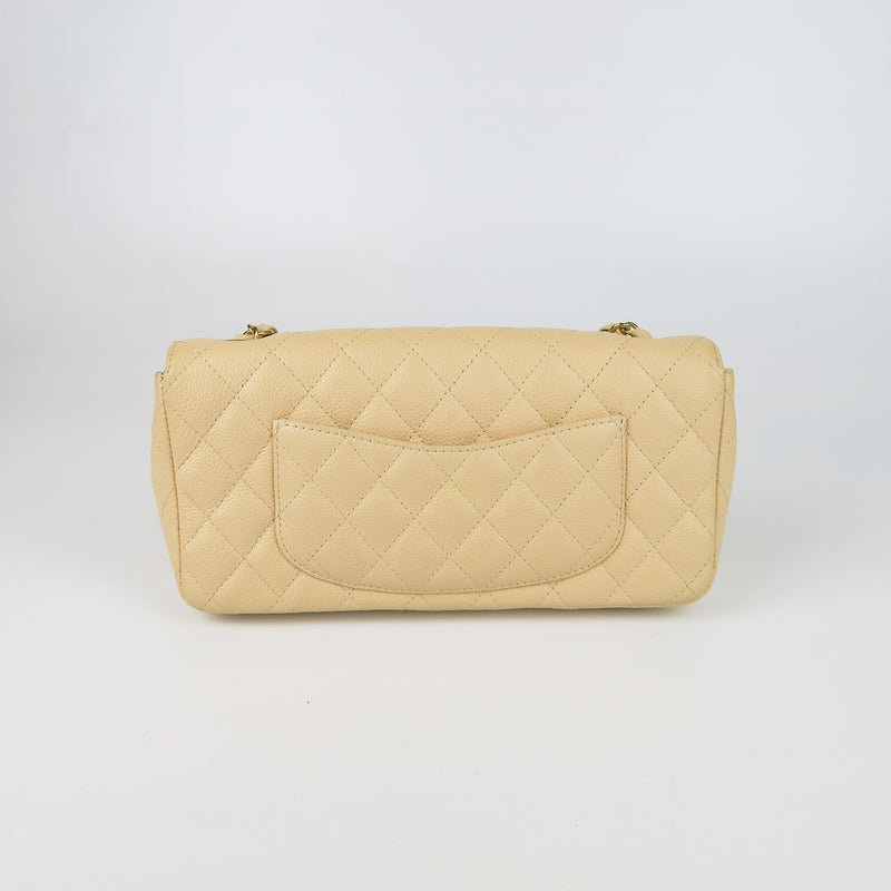 East West Flap Bag in Caviar Beige Leather with GHW