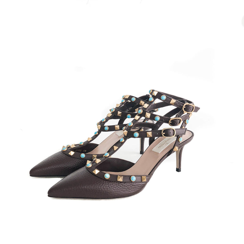 Rockstuds 65 Heels Brown with Turquoise Stones - Bag Religion
