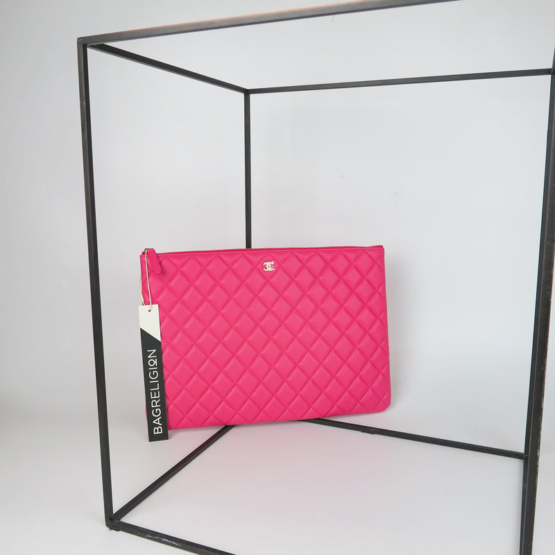 Lambskin O Case Quilted Pink Large Zip Pouch