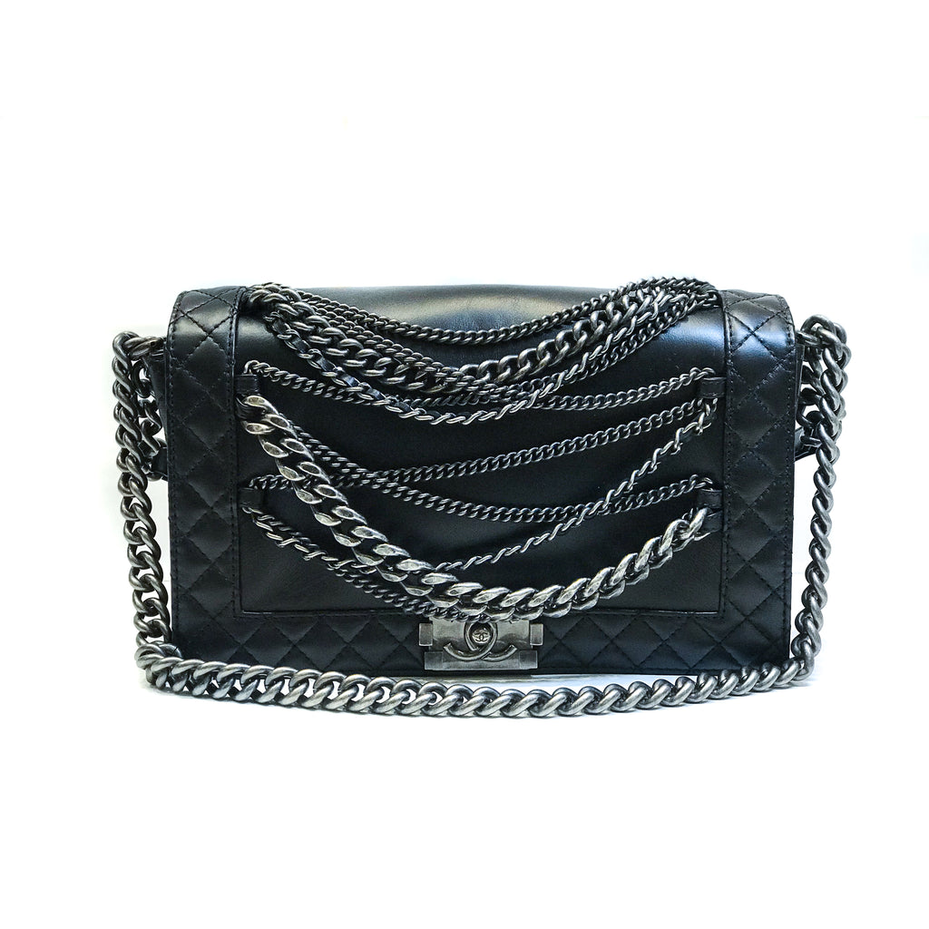 Limited Enchained Medium Boy Flap in Calfskin Leather with RHW