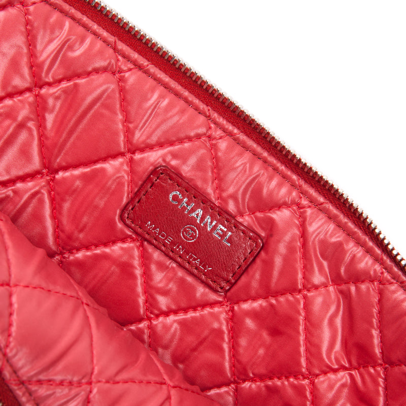 Red Quilted O Case Large in Dark Red Lambskin - Bag Religion