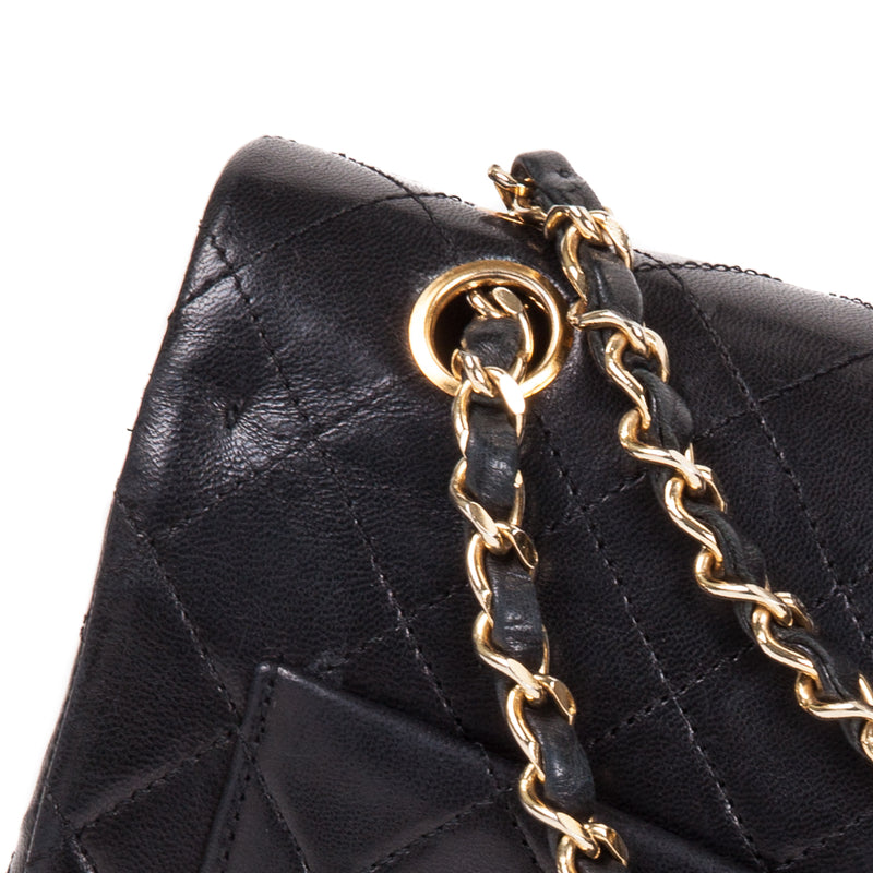 Vintage Black Lambskin 10'' Medium Square Classic Double Flap Bag - Bag Religion