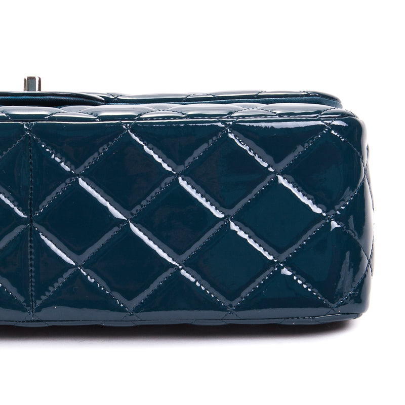 Navy blue Double Flap patent leather jumbo with SHW - Bag Religion