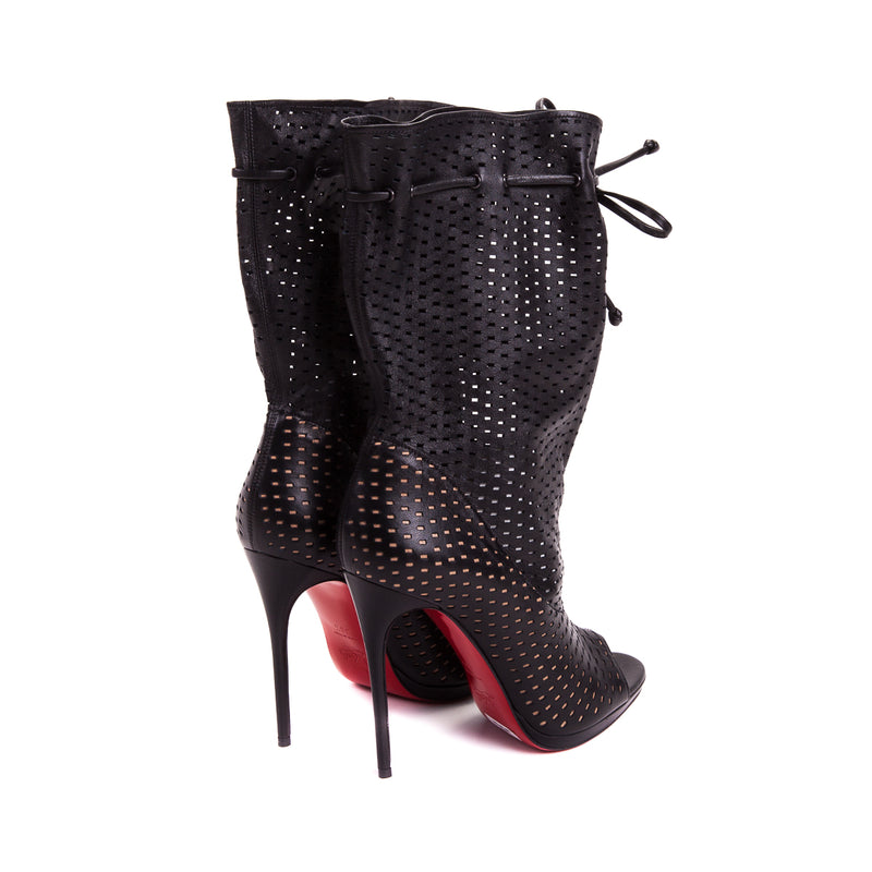 Jennifer Perforated Leather 120 Boots Black - Bag Religion