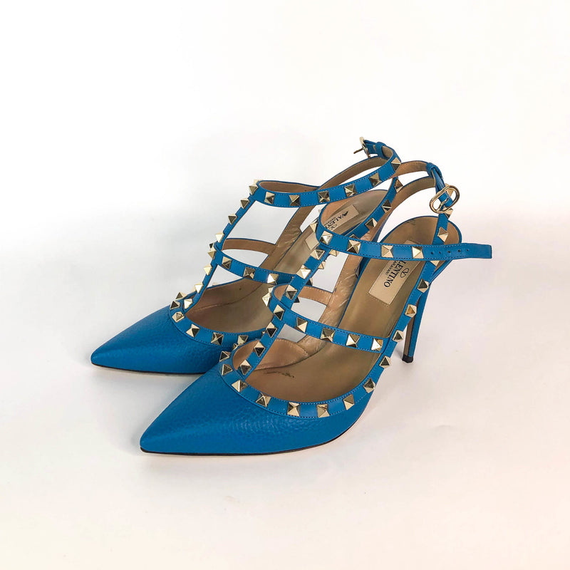 Rockstud Heels in Blue Leather - Bag Religion