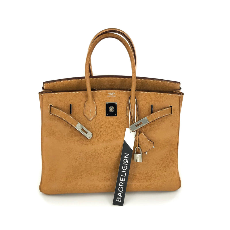 Birkin 35 Gold Vache Liegee  J-Stamp Palladium Hardware - Bag Religion