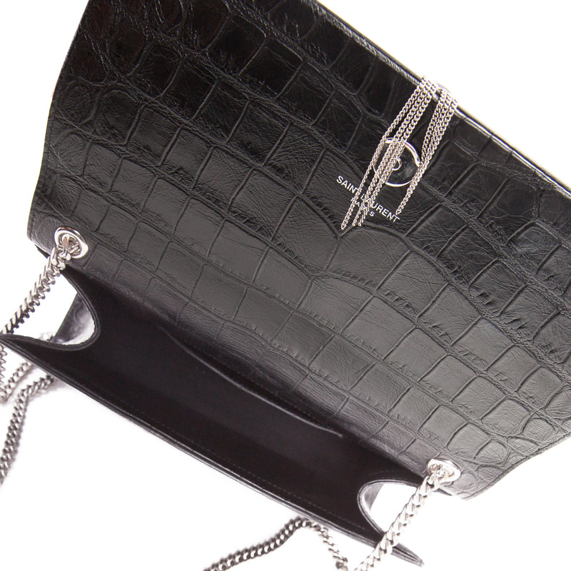Classic Monogram Kate with Tassel in Black Crocodile Embossed Leather - Bag Religion