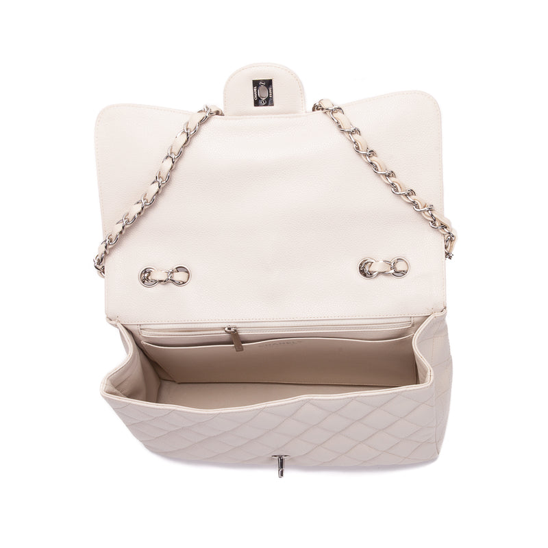 Single Flap Caviar Jumbo in Light Beige w/ Silver Hardware - Bag Religion