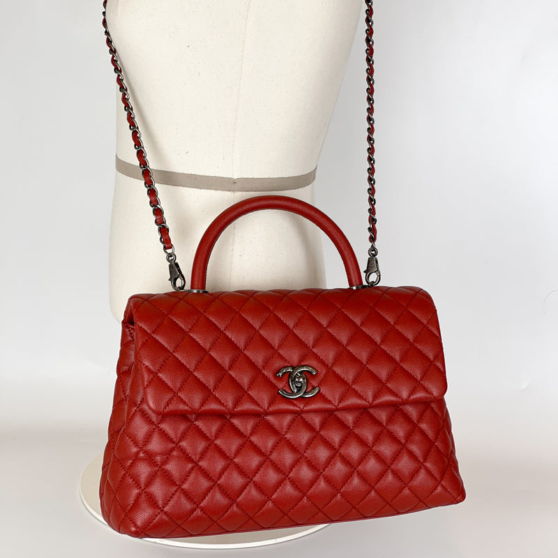 Quilted Large Coco Handle Flap Red Caviar