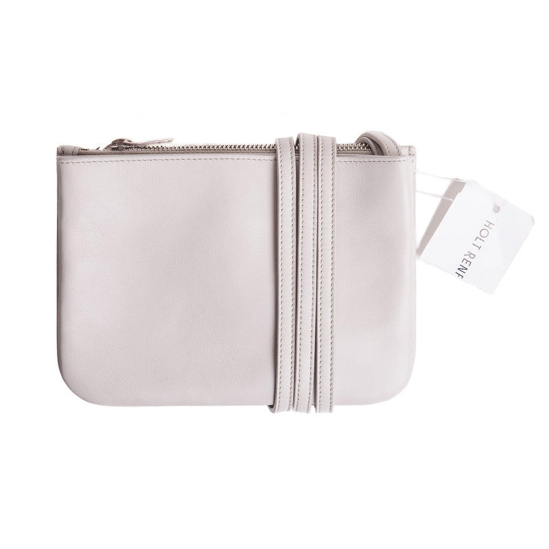Grey Tri-Pocket V Flap Crossbody Calfskin Bag - Bag Religion