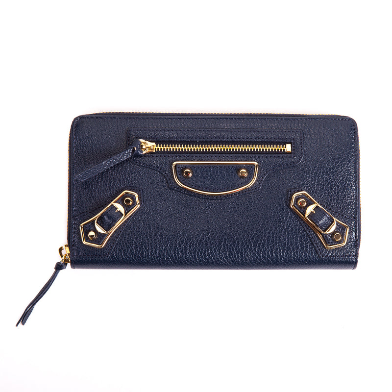 Blue classic Zip-around leather wallet - Bag Religion