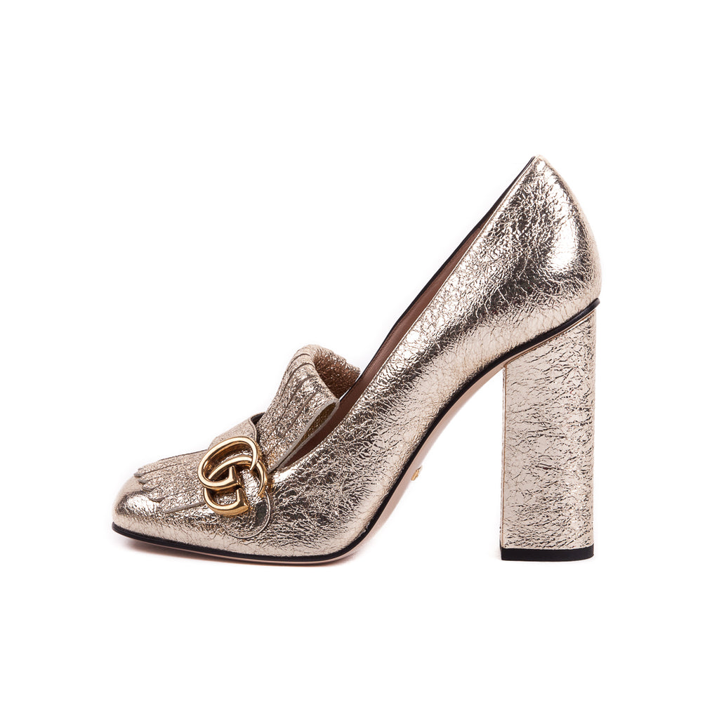 GG Marmont Fringed Metallic Pumps - Bag Religion