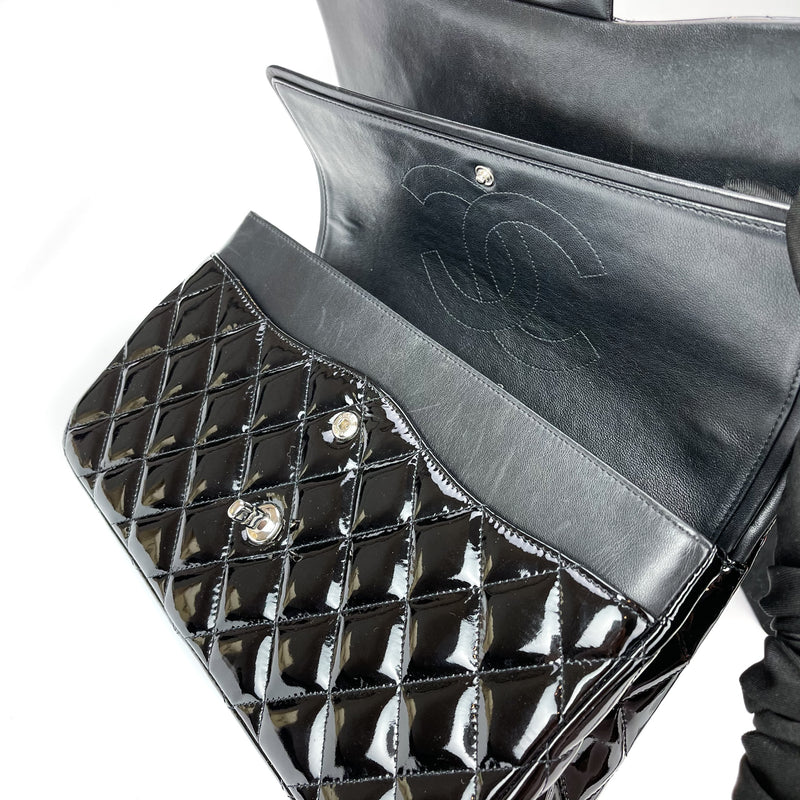 Double Flap Jumbo Quilted Patent Bag in Black with SHW