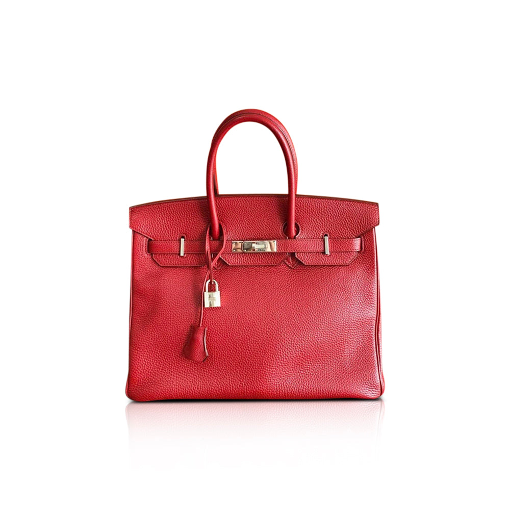 Birkin 35 Rouge Garance Togo K-Stamp with Palladium HDW