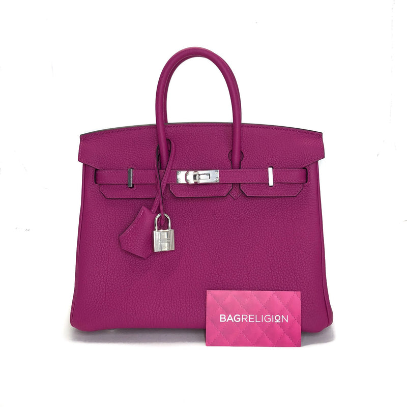 Birkin 25 in Rouge Pourpre Togo Leather with Palladium Hardware - Bag Religion