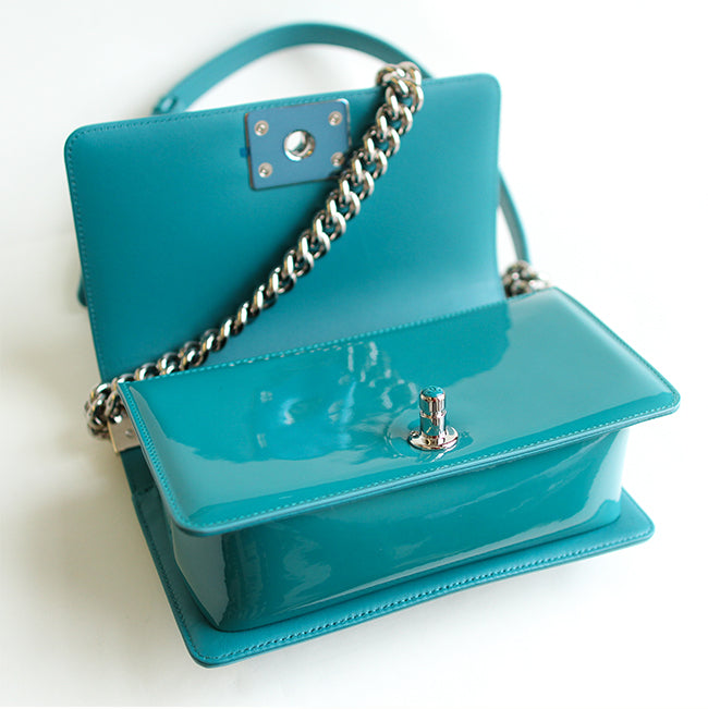 Boy Bag in Blue Patent Leather - Bag Religion