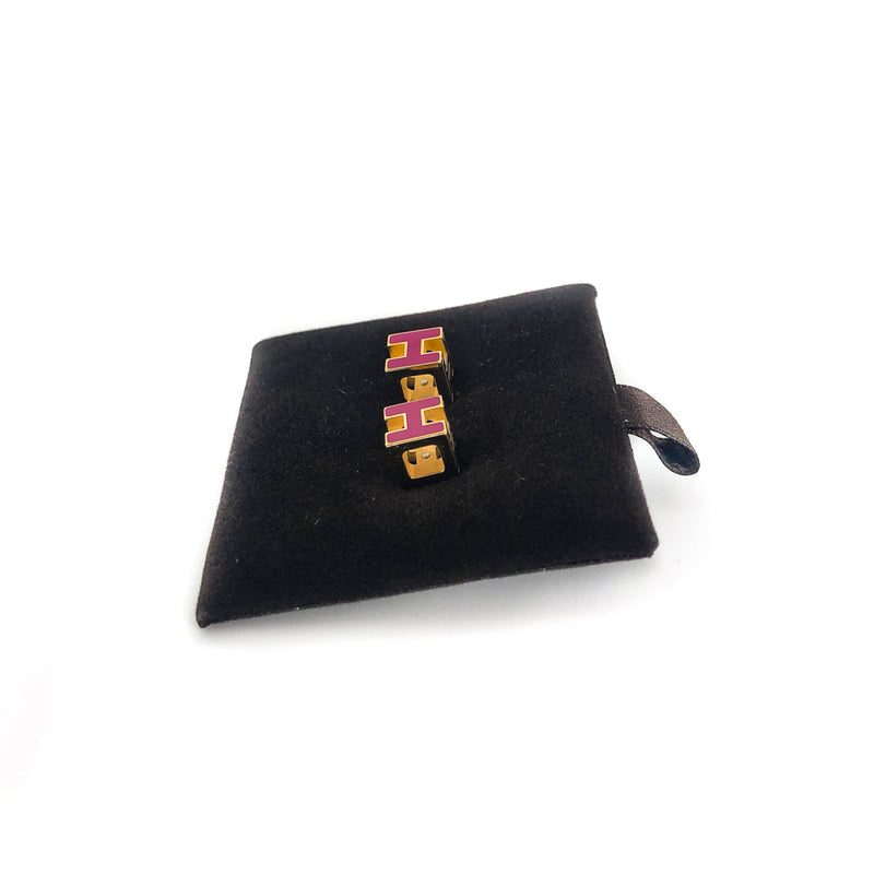 'H' Earrings gold with pink enamel - Bag Religion