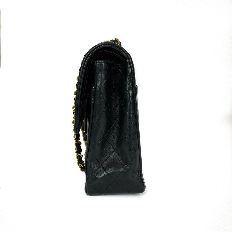 Vintage Black Lambskin 10'' Medium Square Classic Double Flap Bag