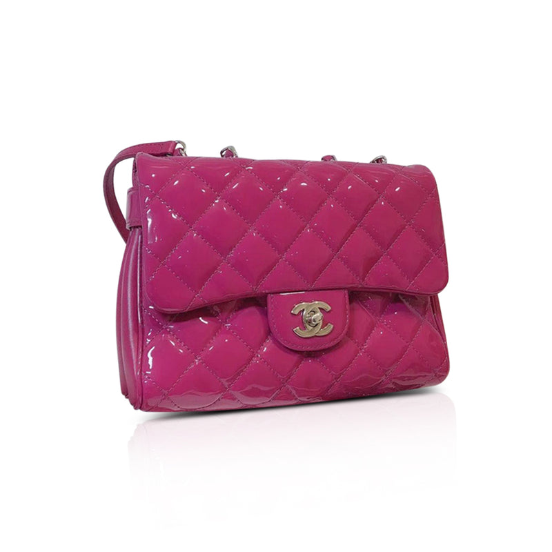 Crossbody Flap Bag in Quilted Fuchsia Patent Leather with SHW - Bag Religion