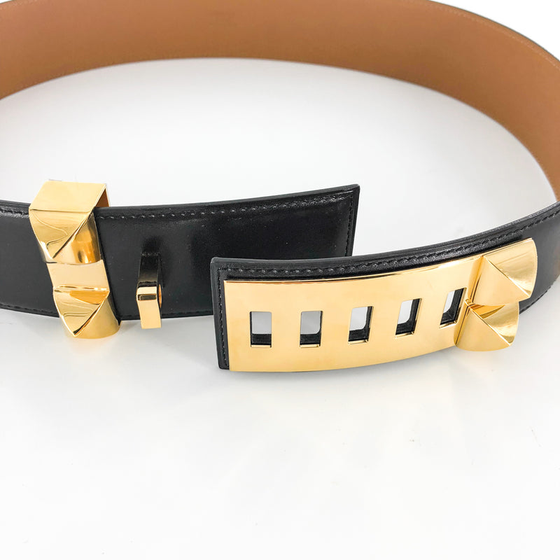 Collier De Chien Black Leather Belt GHW Stamp R - Bag Religion