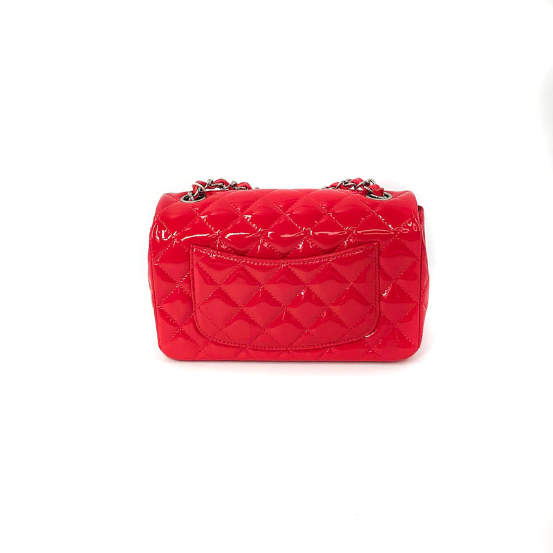 Mini Rectangle Flap Bag in Dark Pink Quilted Patent Leather - Bag Religion