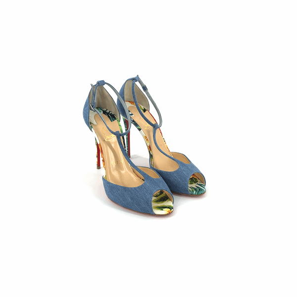 Senora Denim 100mm T-Strap Sandal - Bag Religion