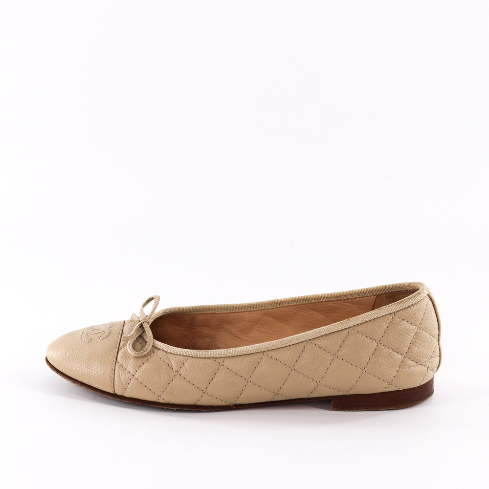 Chanel Nude Classic Grained Leather CC Flats - Bag Religion