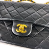 Vintage Lambskin Double Flap Medium with GHW In black