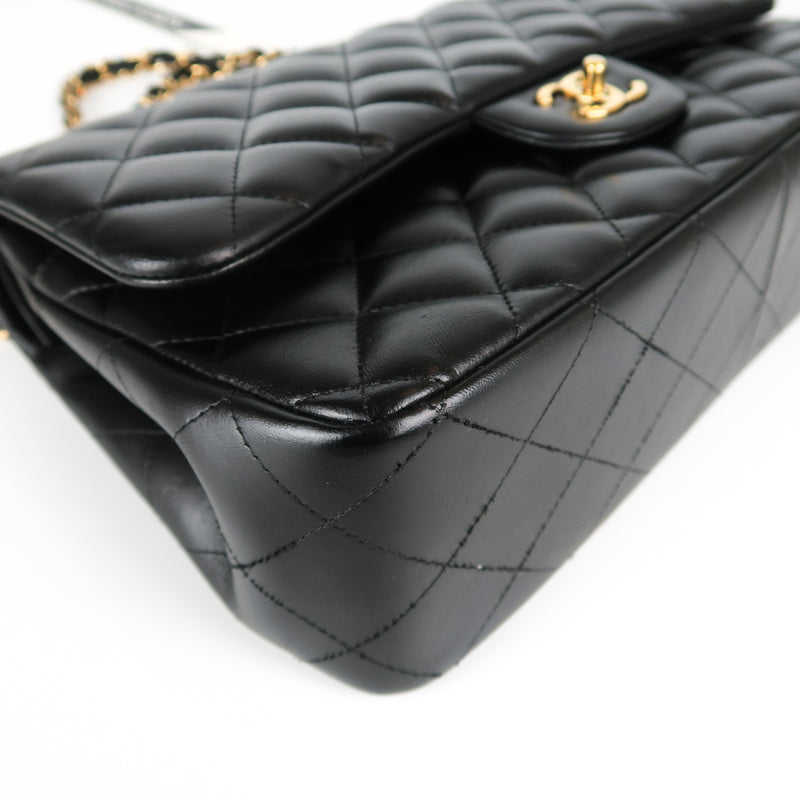 Jumbo Double Flap in Black Lambskin with GHW