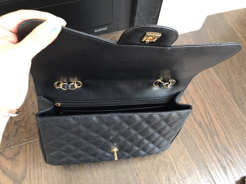 Single Flap Jumbo in Black Caviar Leather GHW - Bag Religion