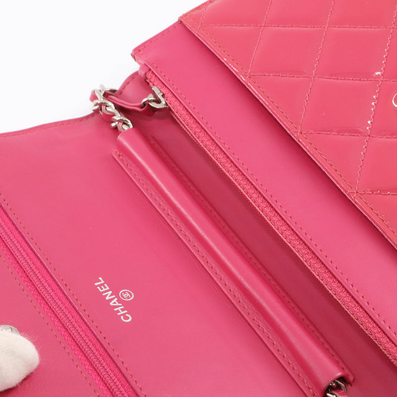 Bright Pink Quilted Patent Flap WOC with SHW - Bag Religion