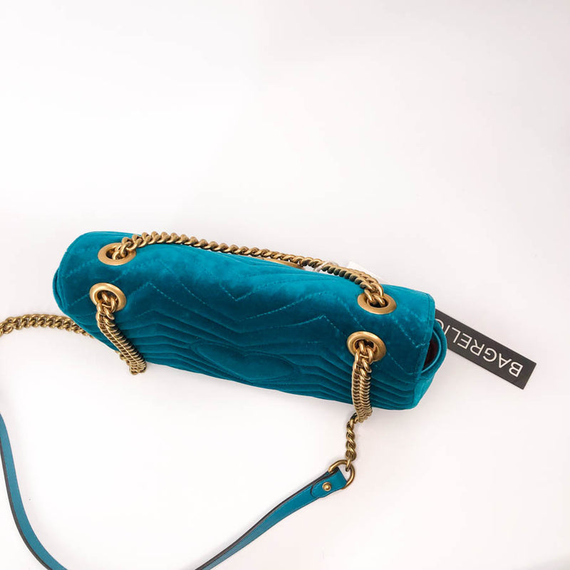 Marmont Matelasse Shoulder Bag Small in Peacock Blue Velvet - Bag Religion