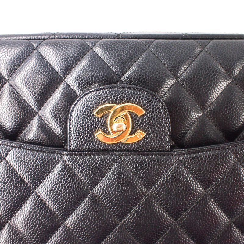 Single Flap Jumbo caviar leather black with ghw - Bag Religion