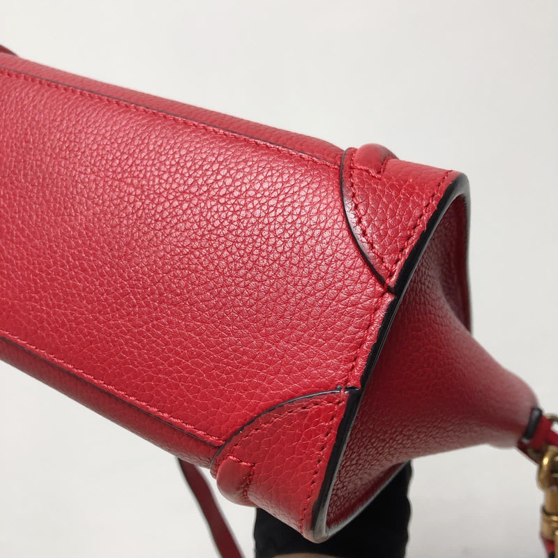 Red Leather Nano Luggage Tote