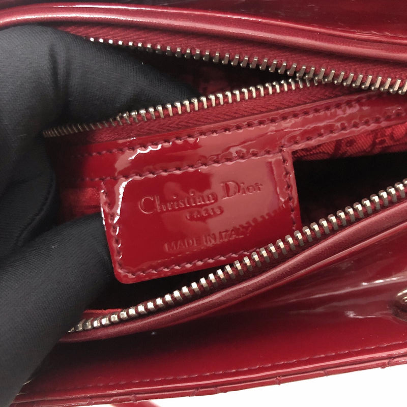 Cannage Lady Dior Medium in Patent Red with SHW