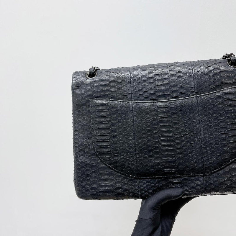Maxi Double Flap Python Leather in Black RHW