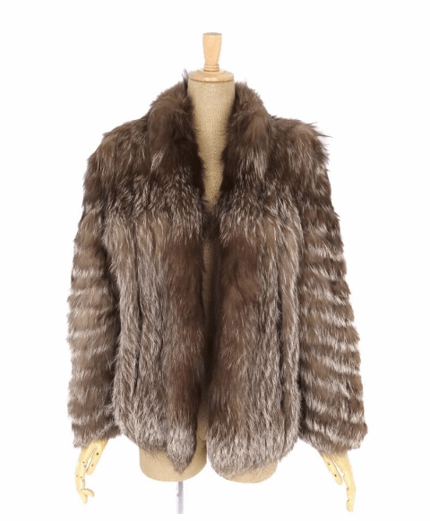 Silver Fox Ladies Mid-Length Fur Coat, Brown - Bag Religion