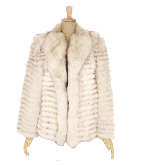 Tiered Blue Fox Fur Ladies Coat in White - Bag Religion