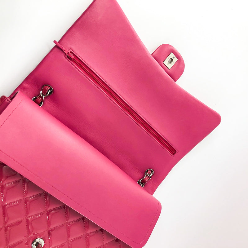 Double Flap Maxi in Hot Pink Patent Leather with SHW - Bag Religion