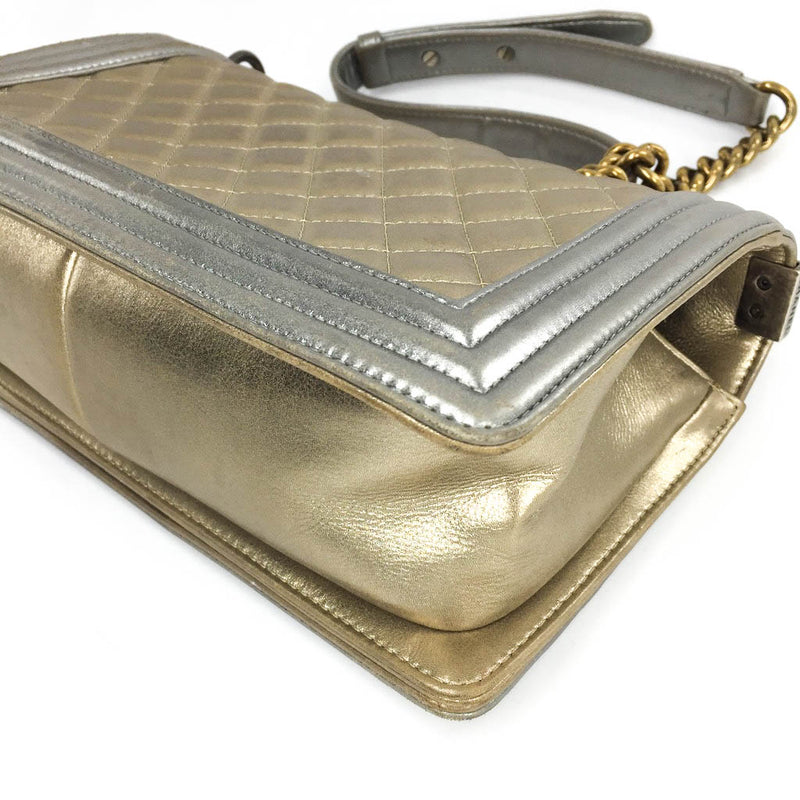 Boy Bag in Gold & Silver Lambkin Leather with Antique Ruthenium Hardware - Bag Religion