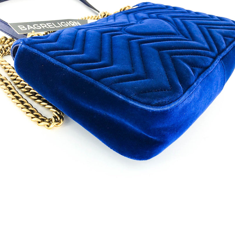 Marmont Matelasse Medium Shoulder Bag in Blue Suede - Bag Religion