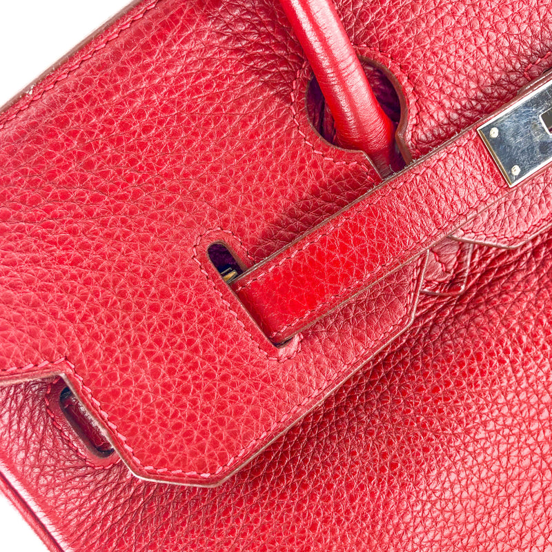 Birkin 35 Rouge Garance Clemence K-Stamp with Palladium HDW - Bag Religion