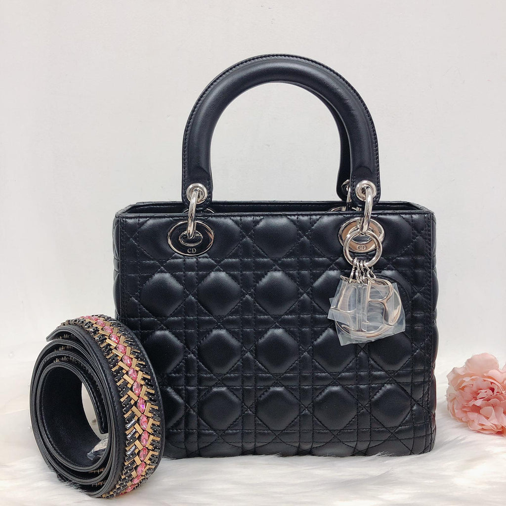 Medium Lady Dior Black Cannage Lambskin Bag with SHW