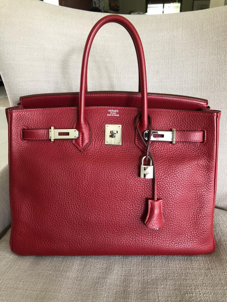 Birkin 35 Rouge Garance Clemence J-Stamp with PHW