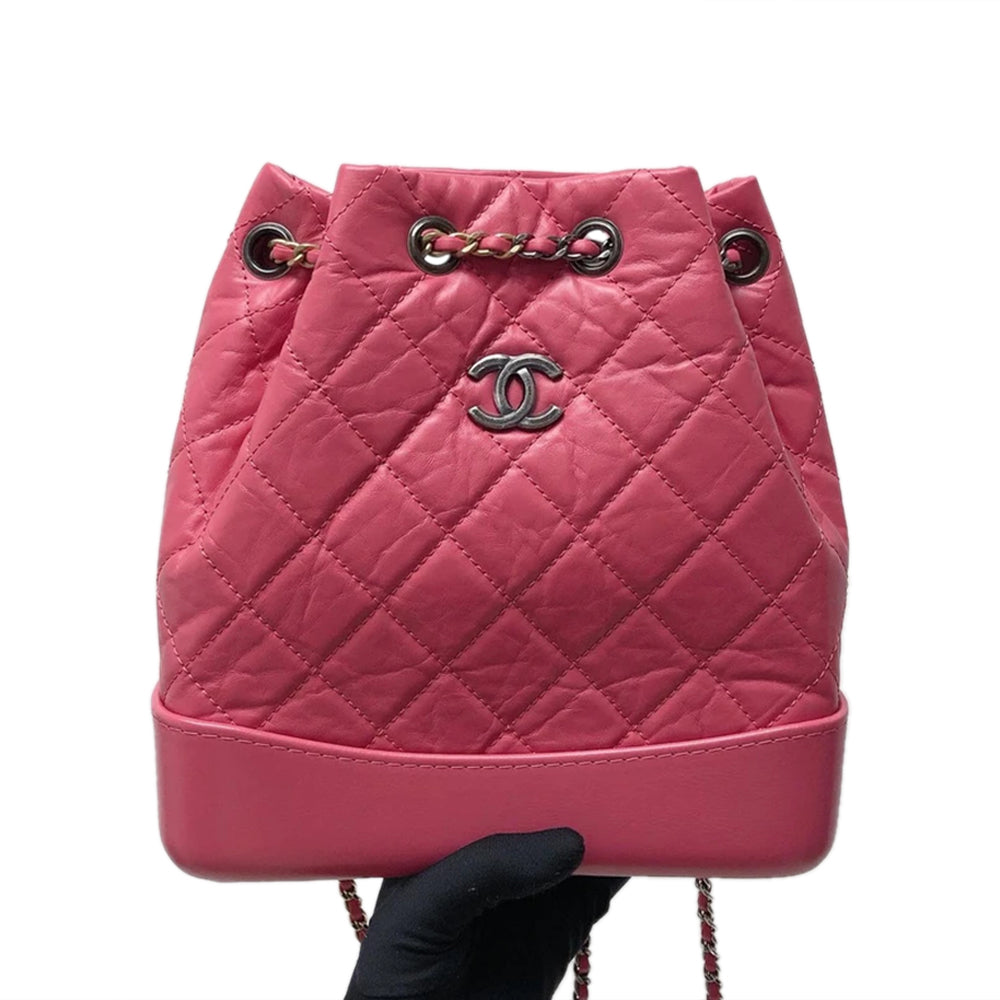 Gabrielle Backpack in Pink Quilted Calfskin Leather Small