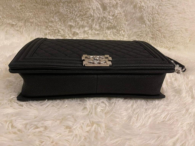 Large Black Le Boy Quilted Caviar Leather